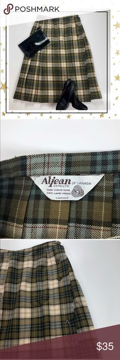 Aljean Green Plaid Skirt (HO24B3L) Vintage , pure wool, wrap-skirt. Pleated. Like new condition. Tag has mo size but by measurements i would say this is size Sm- 4. Offers welcome. No trade Aljean of Canada Skirts A-Line or Full