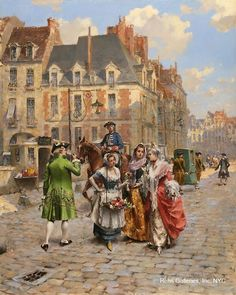 Henry Victor Lesur Marchands des Fleurs Oil on panel 24 x 19 inches Signed Realism Artists, Art Ancien, Great Paintings, Victorian Art, Classical Art, Historical Architecture, Various Artists, Urban Art, 18th Century