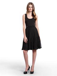5c7f0569df Sleeveless Dress with Cotton Spandex Bodice (Black). DKNY.  195.00 Jw  Fashion