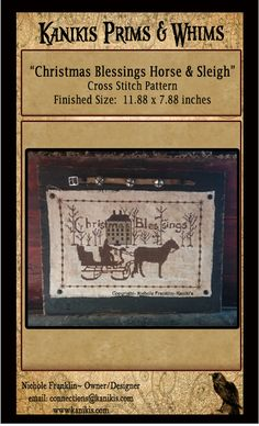 Christmas Blessings Horse And Sleigh-Cross Stitch by Kanikis (also avail as punch needle pattern)
