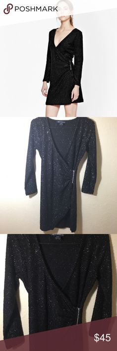 French Connection Sparkle Nights Dress US Size 6 French connection Size US 6/UK 10  Black and sparkly material Long sleeve wrap dress Perfect for the holidays! French Connection Dresses Mini