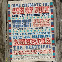Vintage Fourth of July Printable Invitation