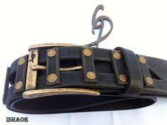 Leather Belt - Black Belt - Studded Belt -  Steampunk - Peace by Piece by Ishaor. $250.00, via Etsy.