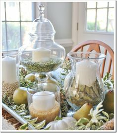 Pear & Pumpkin Autumn Centerpiece: fill a tray with apothecary jars, vases, cream candles, pears, beans, split peas, sage, gourds, rice, bay leaves, dried wasabi, moss, pine needles, oats, salt, sand, cous cous . . . it's all good!