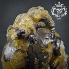 Super Detail Carved Golden Crystal Ammonite Fossil Human Skull Memento Mori RareFind this masterpiece on Etsy