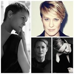 In her latest role as Claire Underwood, the shrewd politician's wife on House of Cards, Robin Wright wears minimalist, perfectly tailored dresses, flawless natural makeup and this stunning short cu...