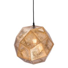 Coralville ceiling lamp will create style and drama with thin sheets of perforated gold metal mesh encapsulated a single light with elegant style. Gold finish to electroplated metal. Bulbs not included. Bulbs sold seperately, Max Watt 40 W, Size E26, Type A19. UL approved and listed.