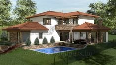 Piliscsaba - családi ház Family Houses, Roof Top, Design Case, House Plans, Home And Family, Exterior, House Design, Mansions, House Styles