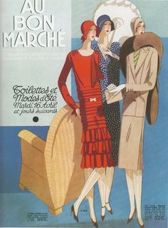 French ready-to-wear spring fashions -- Catalogue du Bon Marché,1930  (still has the classic 1920s style (dropped-waist flapper)