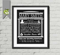 Leaving /Retirement Gift for a  Banker, Clerk, Accountant - fully Personalised, typography,, personalised -men-women- DIY Printable