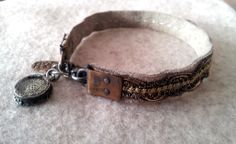 Handmade bracelet from leather, vintage lace and chain. Medaillon with vintage picture.