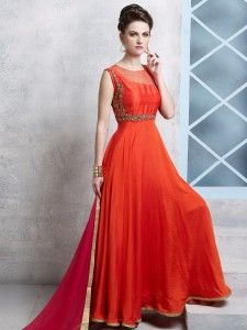 Shop Orange silk classic anarkali suit online from G3fashion India. Brand - G3, Product code - G3-WSS20300, Price - 8795, Color - Orange, Fabric - Silk,