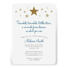 Shop Twinkle Twinkle Little Star Baby Shower Invitation created by loralangdesign. Personalize it with photos & text or purchase as is! Custom Baby Shower Invitations, Baby Shower Invitation Cards, Gender Reveal Invitations, Baby Invitations, Invitation Ideas, Babyshower Invites, Invitation Design, Baby Shower Niño, Gender Neutral Baby Shower