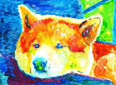 Akita Dog art print dog painting Giclee Print colorful modern art Akita Inu gift idea great Japanese dog painting Abstract… #dogs #art #etsy