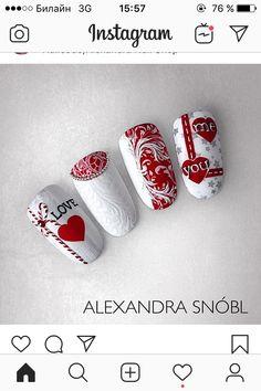 Toe Nails, Coffin Nails, Acrylic Nails, Heart Nail Designs, Nail Art Designs, Valentine Nail Art, Valentines, Xmas Nails, Heart Nails