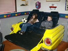 Truck Couch - love the bright yellow and looks very comfy! Shared by highroadorganizers.com