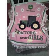 Pink John Deere Fleece Blanket