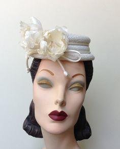 Floral Straw Cocktail Hat, Rustic Wedding Accessory, Ivory Straw Mini Boater with Garlic Skin Flowers and An Elegant Satin Cord