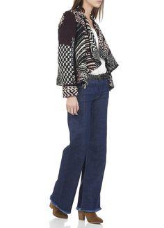Gilet court en maille jacquard tricotée Ilda Rouge by BA & SH