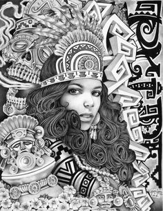 Aztec Girl by Mouse Lopez Lowbrow Artwork Canvas Art Print – moodswingsonthenet Stretched Canvas Prints, Canvas Art Prints, Payasa Tattoo, Zentangle, Aztec Drawing, Arte Lowrider, Lowrider Tattoo, Prison Art, Aztec Warrior