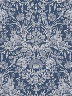 This stylish Woodland Damask wallpaper will make a great statement in most rooms of your home. It features a beautiful handpainted style design of woodland animals, flowers and leaves in white that form an intricate damask like pattern. This is set on a navy blue background with a smooth matte finish. Easy to apply, this high quality wallpaper would look great as a feature wall or equally good when used to decorate a whole room. Damask Wallpaper, Wallpaper Paste, Paper Wallpaper, Adhesive Wallpaper, Designer Wallpaper, Main Colors, Colours, Navy Blue Background, Pattern Matching