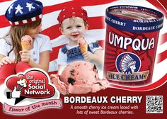 July Flavor of the Month ~ Bordeaux Cherry ~ A smooth cherry ice cream with lots of sweet Bordeaux cherry pieces.