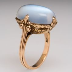 Antique Large Oval Moonstone Etched Cocktail Ring Solid 14k Gold Estate Jewelry | eBay