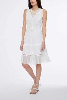 GIADA DRESS IN RAMIE COTTON: Elegantly rendered in airy cotton raime, this spring essential captures the boho mood with hand-applied lace embroidery. Sheer crinkle chiffon lends an airy counterpoint while the gathered waist enhances the feminine fit.