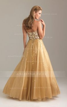 Gold Sequin Beaded A-line Tulle Shimmer Prom Dress _3