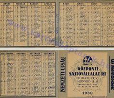 1930 - 1930_0007 - Régi magyar kártyanaptárak