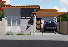 Planta de casa Térrea com 2 quartos para terrenos pequenos
