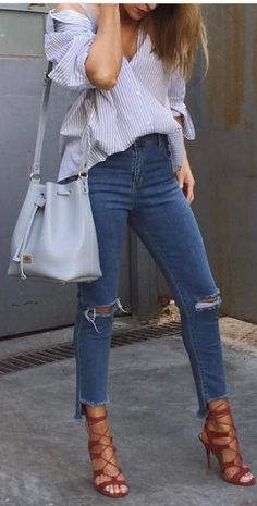 trendy casual style outfit top + rips + bag + heels