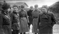 Nikita Khrushchev (right) with other top officers of the Soviet Military Tribunal for the South-Western Front