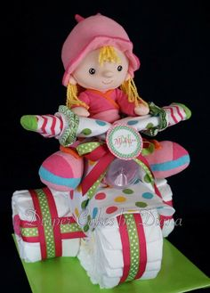 Baby Girl Diaper Tricycle www.facebook.com/DiaperCakesbyDiana