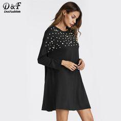 Dotfashion Pearl Beaded Detail Shift Dress 2017 Black Round Neck Tunic Dress For Women Autumn Long Sleeve Casual Short Dress