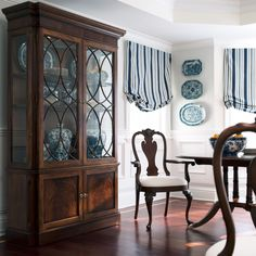 Interior, : Interesting Ethan Allen Home Interior For Dining Room Decoration With Dark Brown Wood Cupboard Along With Blue Stripe Hang Curta. Interior Design, Dining Room Storage, Furniture, Home, Interior, Country Living Room, Living Room Sets Furniture, Home Furniture, Home Decor