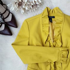 {INC} Mustard Blazer -Great for spicing up any outfit! -Great quality material -60% rayon, 35% nylon, 5% spandex  -Zipper closure  -Worn only 1-2 times  -Like-new condition -Picture collage at the bottom is inspirational (similar blazers but not exact) INC International Concepts Jackets & Coats Blazers
