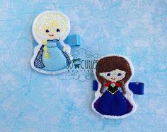 Frozen Princesses Set Felt embroidery hair clip / baby by soCuties, $8.00 #elsa #anna # frozen # Disney