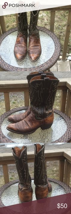 Justin Cowboy Boots Well used cowboy boots, warn many times. Still in good condition, but definitely warn. Two shades of brown. Justin Boots Shoes Cowboy & Western Boots