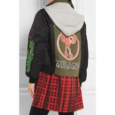 Moschino Hooded printed shell, checked wool-blend and cotton-blend... ($930) ❤ liked on Polyvore featuring moschino