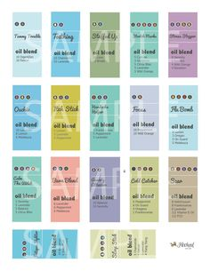 easy way to get started- roller bottle recipes & labels in one!! -- Digital Sheets Download Labels for 5ml and 10ml Roller by HookedOnOil on Etsy