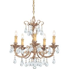 Make a dramatic statement in the foyer or dining room with this candelabra-inspired chandelier, showcasing a scrolling brass frame and crystal drop accents. ...