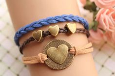 LOVE braceletretro bronze LOVE heart round and by fabuloustime, $8.59