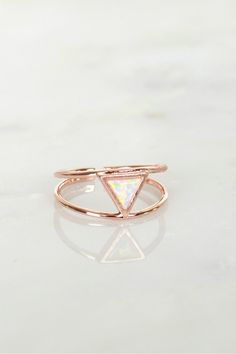 Double Bar Opal Triangle Ring Rose Gold, An adjustable ring with a thin double bar construction and a triangular opal piece at the center.