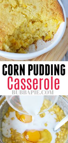 Corn Pudding Casserole Recipe is the perfect side dish for any occasion. Using Jiffy Corn Muffin mix makes this quick, easy and delicious. Corn Pudding Jiffy, Corn Pudding Casserole, Cornbread Pudding, Corn Pudding Recipes, Casserole Recipes, Corn Casserole With Jiffy, Best Corn Casserole Recipe, Cornbread With Corn, Cornbread Recipes