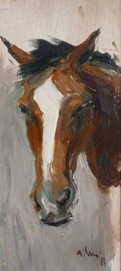 Estudio de cabeza de caballo. Oleo/ tabla