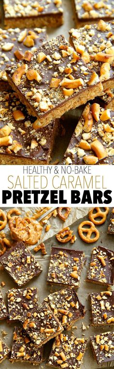 No Bake Salted Caramel Pretzel Bars -- sweet, salty, and melt-in-your-mouth delicious! These bars are made without flour, butter, or refined sugar Vegan Sweets, Healthy Baking, Vegan Desserts, Healthy Desserts, Delicious Desserts, Healthy Foods, Vegan Recipes, No Bake Desserts, Just Desserts