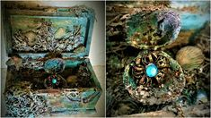 A chest with hidden treasures...like it came out of the deep ocean. Altered wooden box, with color mists, sea shells etc.