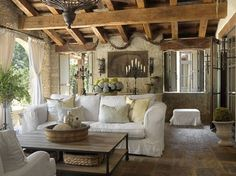 LIVING ROOM & FAMILY ROOM – Tuscan Villa - mediterranean - porch - st louis - Amy Studebaker Design