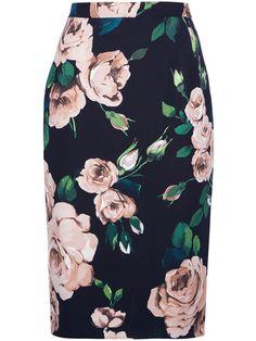 Dolce & Gabbana Rose Print Pencil Skirt